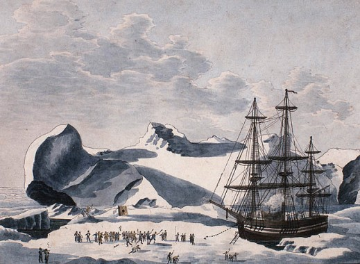 A watercolour on wove paper showing a sailing ship anchored to a mass of ice. Many figures are standing on the ice at the left.