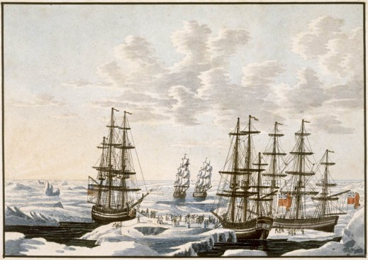 A watercolour on wove paper showing five sailing ships (three with prominent Union Jack flags) meeting at a break in the ice. Many figures are either on the ships or walking between them. Birds are flying in the air.