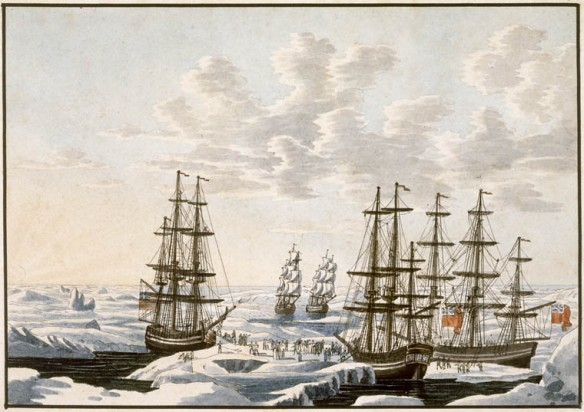 Aquarelle sur papier vélin illustrant cinq voiliers (l'Union Jack bien visible sur trois d'entre eux). Réunis dans une trouée dans la glace. De nombreuses autres figures se trouvent sur ces navires ou entre eux. Des oiseaux volent dans le ciel.