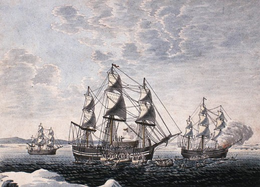 A watercolour on wove paper showing three large sailing ships from the starboard side in the middle ground. Inuit in canoes are alongside the ship at the centre and the one on the right. Shots can be seen being fired from one of the ships.
