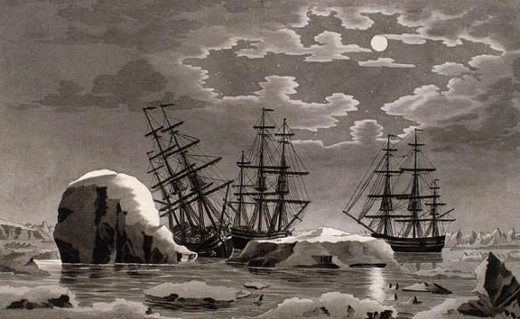 Aquarelle sur papier vélin illustrant trois voiliers, la nuit. Le navire de gauche, qui a frappé un iceberg, penche à bâbord.