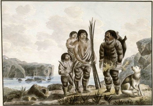 A watercolour on wove paper showing an Inuit family: a man, a woman carrying a child, and another child standing in the foreground with a dog. A body of water lies behind with some small islands.