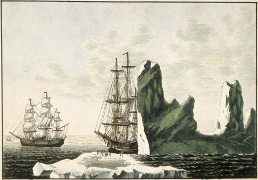 A watercolour on wove paper showing two sailing ships in the middle ground. The one on the right is partly obscured by an iceberg. Several figures stand on a mass of ice in the foreground.