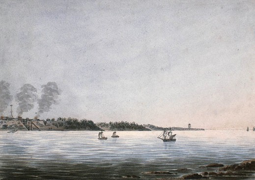 A watercolour on wove paper with a sailing ship in the middle ground heading towards a small port and a fort on land.