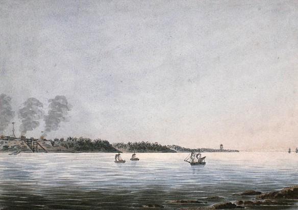 Aquarelle sur papier vélin illustrant, au deuxième plan, un voilier qui entre dans un petit port, et un fort sur la rive.