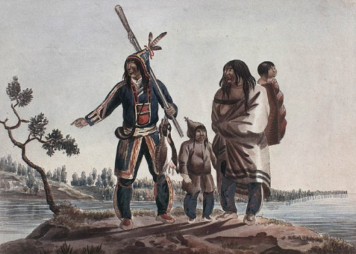 A watercolour on wove paper showing a Cree family: a man, woman, and two children. They are standing in the foreground on a small plateau, with water and land in the background.