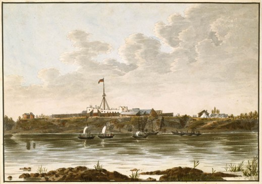 A watercolour on wove paper showing several boats leaving port in the middle ground. Behind them, on the embankment, sits a fort with a single, tall flagpole.