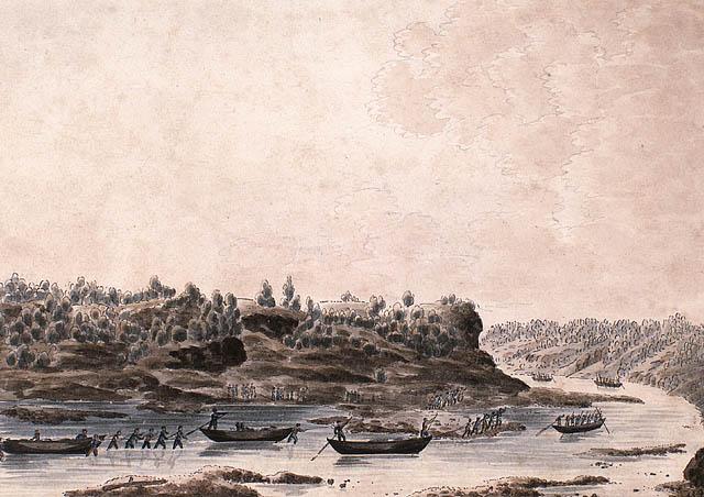 Aquarelle sur papier vélin illustrant plusieurs figures qui remontent une rivière peu profonde en manœuvrant ou tirant leurs canots.