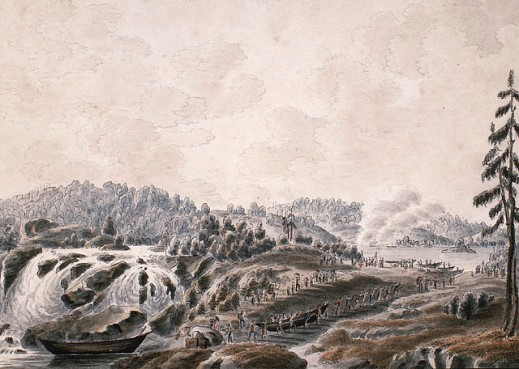 A watercolour on wove paper showing a waterfall. To the right, are figures carrying canoes and gear to the water beyond the embankment that bisects the river.