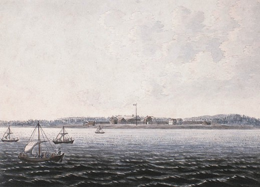 A watercolour on wove paper showing four small sailing boats on a large expanse of water. A fortified settlement can be seen on the bank in the distance.