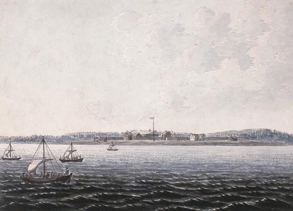Aquarelle sur papier vélin illustrant une chute. À droite de la scène, des figures transportent des canots et de l'équipement vers l'autre partie de la rivière.