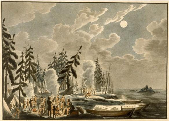 Aquarelle sur papier vélin illustrant un campement sur la rive éclairé par la lumière de la lune. Des figures sont groupées autour des feux, près des tentes. Leurs canots sont dans l'eau, à droite.