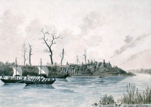 Aquarelle sur papier vélin illustrant un groupe d'Indiens sur la rive souhaitant la bienvenue aux voyageurs à bord de petits voiliers.