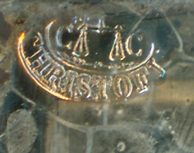 A close-up detail of a full plate mark of French daguerreotype plate manufacturer CHRISTOFLE.