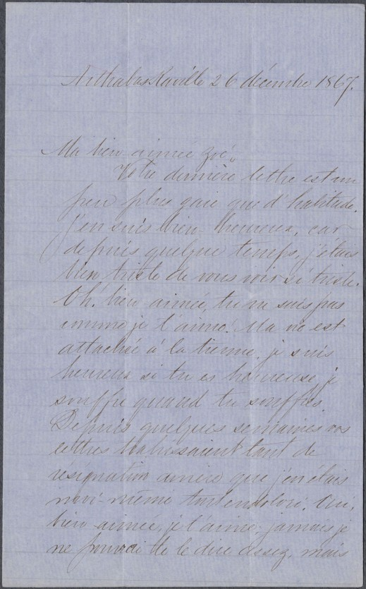 Copy of a beautifully handwritten letter.