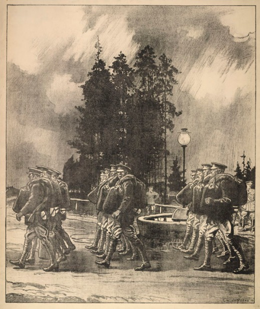 A lithograph showing ranks of troops marching with their duffel bags on their shoulders.
