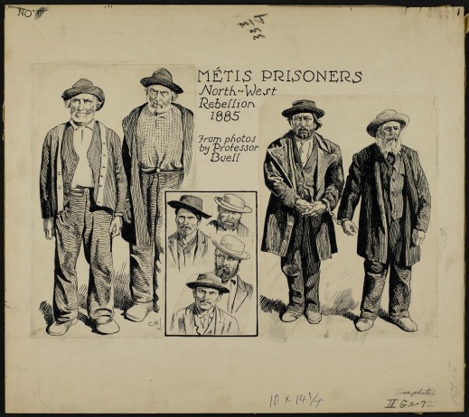 A pen and black ink drawing of four men standing and a vignette of four head portraits of other men wearing hats.