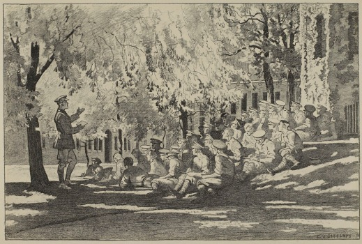A black and white lithograph of officers sitting on a shaded grassy knoll in front of an ivy-covered building listening to an officer standing in front of the crowd.