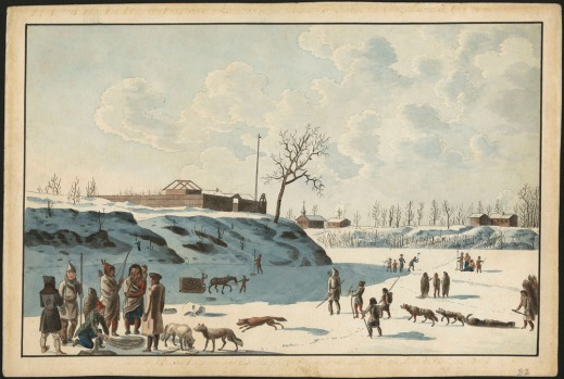 A watercolour on wove paper showing a group of Aboriginal people accompanied by dogs in the foreground, with multiple activities taking place behind them: ice fishing, a load of wood being transported on a horse-drawn sled. On the embankment behind all these activities is a fort.