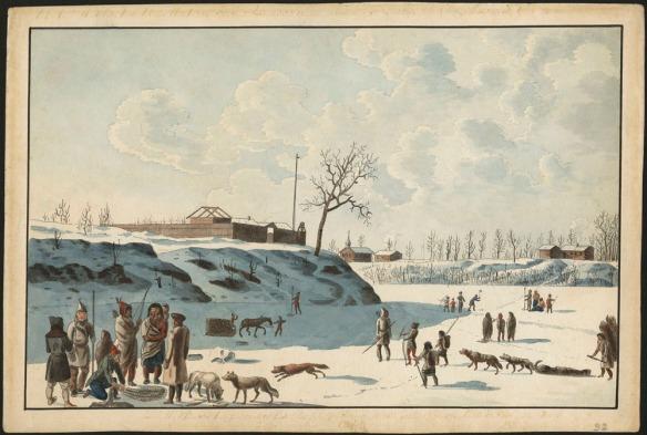 Aquarelle sur papier vélin. Au premier plan, on voit un groupe d'Indiens accompagnés de chiens. Des figures en arrière-plan pratiquent diverses activités : pêche sur glace, transport d'une charge de bois dans un traîneau tiré par un cheval. À l'arrière, sur la rive, se trouve un fort.