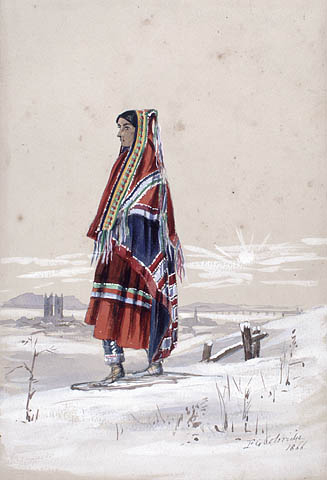 A watercolour showing a woman wearing a red dress with a blanket wrapped around her head and shoulders. She is wearing snowshoes and looking off to the left. Behind in the distance is the silhouette of a church with a mountain behind it.