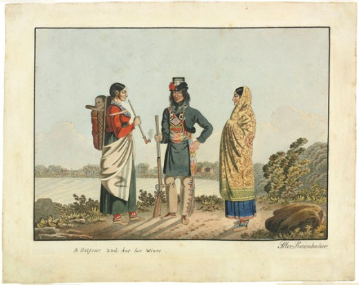 A watercolour showing three figures standing by a body of water. From left to right: a woman smoking a pipe with a baby on her back , a man wearing leggings, a long blue jacket and a Métis sash holding a rifle in his right hand, and another woman with a shawl wrapped around her head and body wearing a blue dress underneath.