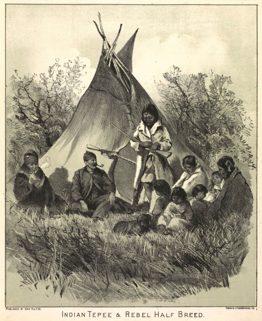 A lithographic print showing a group of nine people, likely a family, including a baby, and three children sitting in front a tepee. One person is standing up and holding a rifle and two Métis men are smoking pipes.