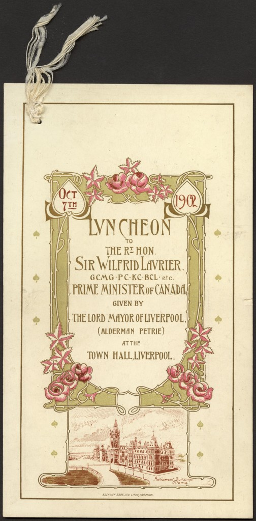 Centered text elaborately framed with gold whiplash lines in the form of rose vines, pink coloured roses and leaves on the bottom corners; below the frame is an illustration of the Ottawa Parliament Buildings.