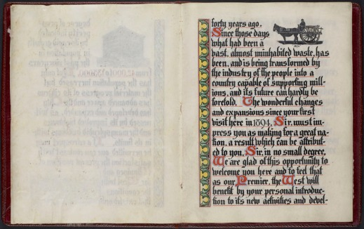 An illuminated address showing an elaborate scroll to the left of the text and a Red River Cart in the upper right-hand corner.