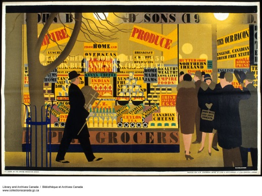 A colour print of a man walking in front of a well-lit grocery store with advertisements for Empire products. Men and women are going in and out the shop.