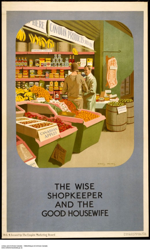 "A colour print of a grocery store with signs advertising that many of the products are Canadian. In the front of the store, a woman is having a discussion with the grocer. The poster has the caption, ""The Wise Shopkeeper and the Good Housewife."""