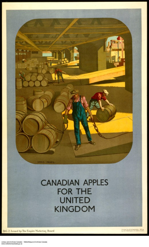 "A colour print of men loading wooden barrels on a boat, with the caption, ""Canadian Apples for the United Kingdom."""
