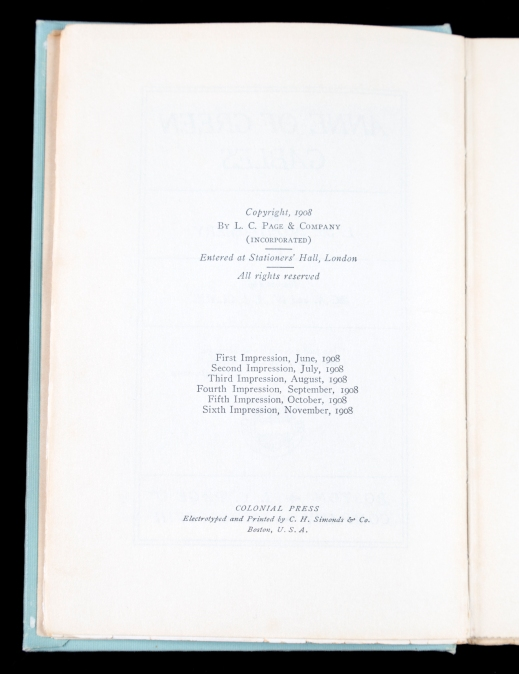Copyright page of the Cohen Collection copy of the sixth printing of the first edition of Anne of Green Gables