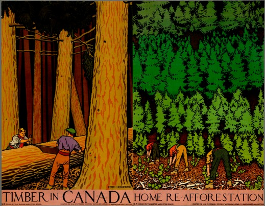 "A colour print showing two men sawing a tree trunk on the left and three men planting trees on the right, with the caption, ""Timber in Canada."""