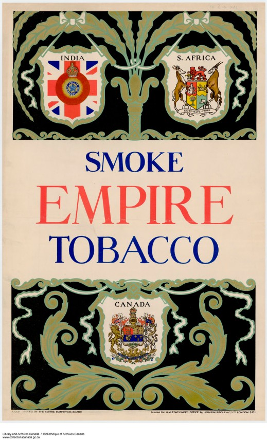 "A colour print showing the crests of India, South Africa and Canada, with the caption, ""Smoke Empire Tobacco."""