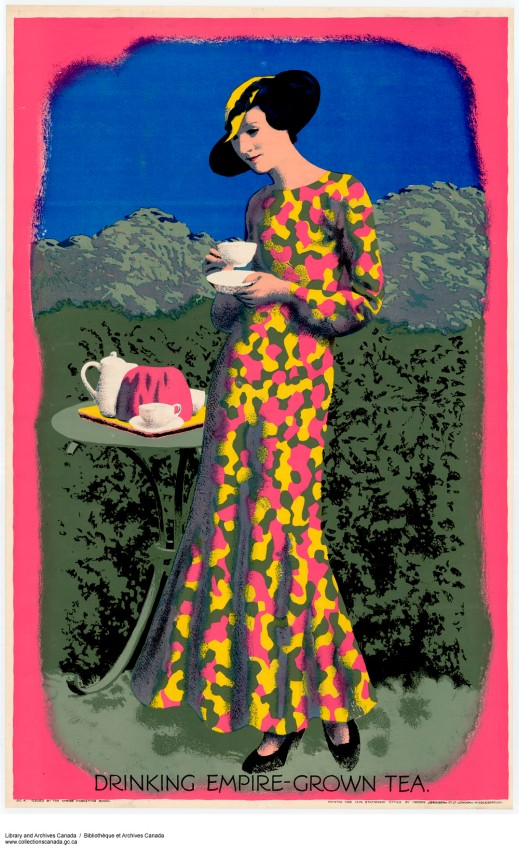 "A colour print of a woman wearing a long dress and holding a cup of tea, standing beside a side table with a tea tray, with the caption, ""Drinking Empire-Grown Tea."""
