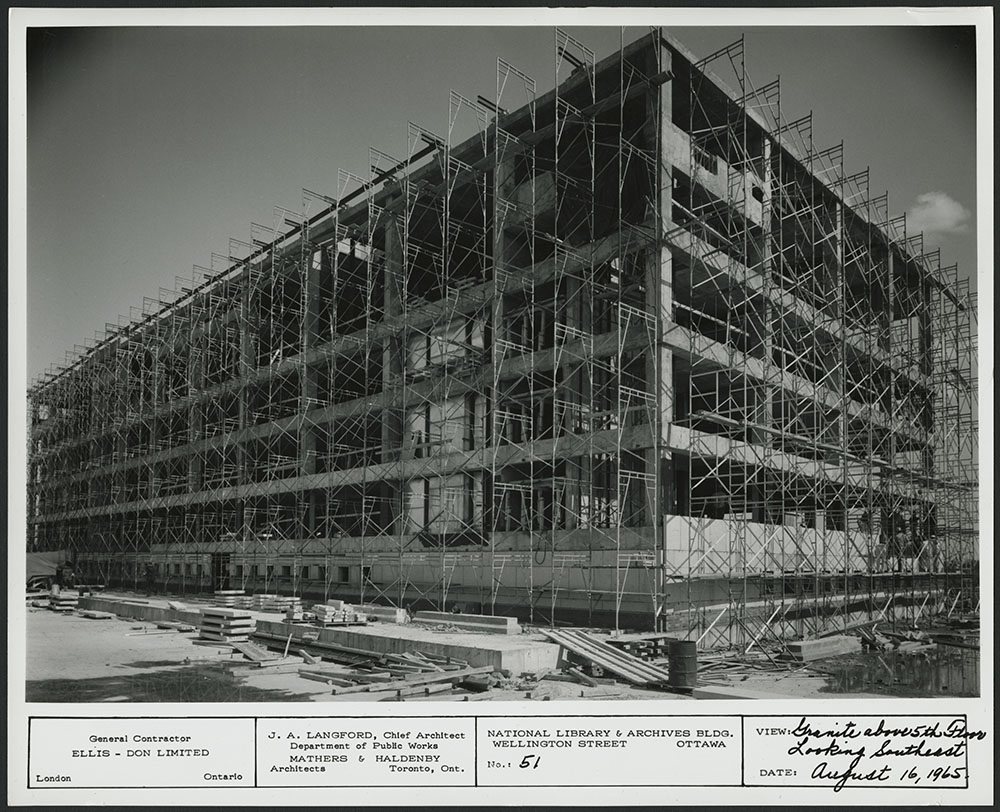Newly digitized images of the construction of 395 Wellington