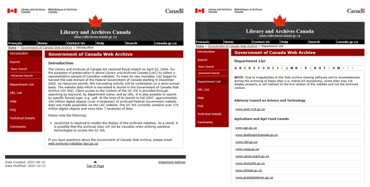 A colour image showing screen captures of two Government of Canada web pages side by side.