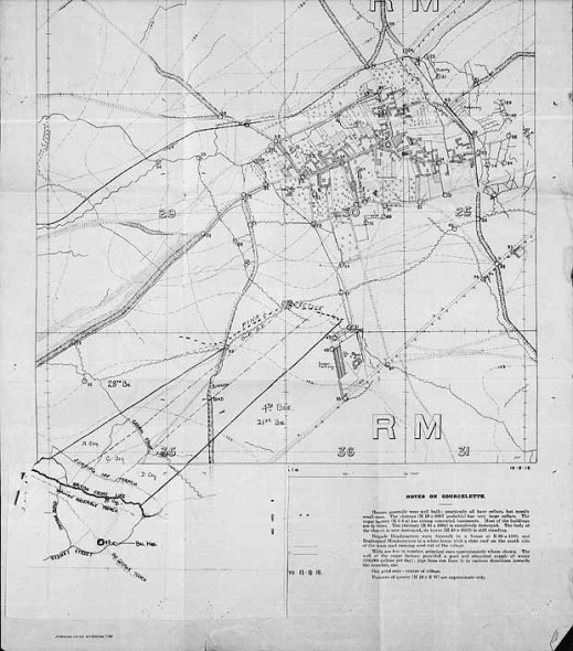 An image of a trench map, dated September 1916, showing the planned line of advance for the 27th Battalion near Courcelette, France.