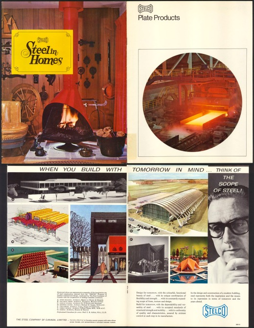 A collage of coloured advertisements. The first image shows different residential products, including a wood fireplace for the living room, the second shows the manufacturing of steel panels, and the third shows several architectural drawings for building construction.