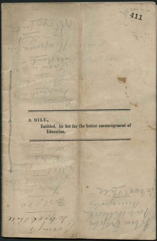 """Image of old document tied with a string on the left side. In the middle of the page there is a typewritten title """"A bill, Entitled, An Act for the better encouragement of Education"""" and the page is covered with handwritten marks."""