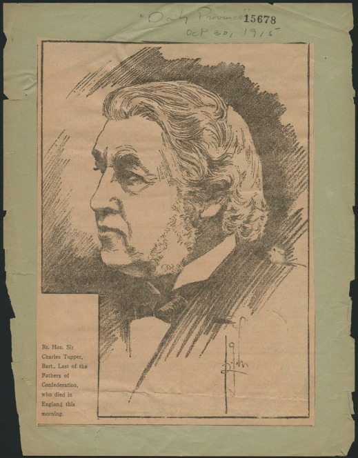 Newspaper clipping showing a sketch of a man.