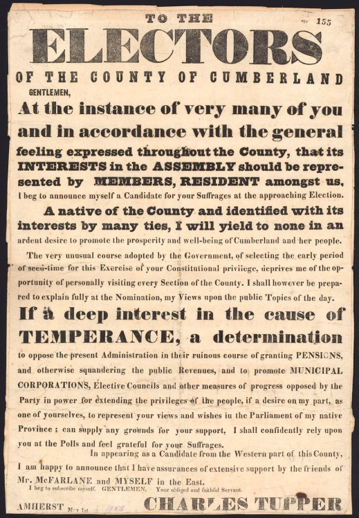 Poster with text outlining Sir Charles Tupper's election platform for the Cumberland County election in Nova Scotia
