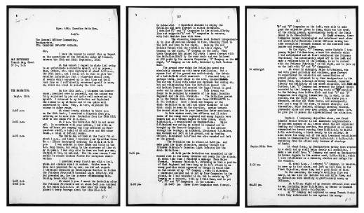 A black-and-white collage of three typewritten pages with the date September 15 in the margin and an hour-by-hour account of the actions taking place.