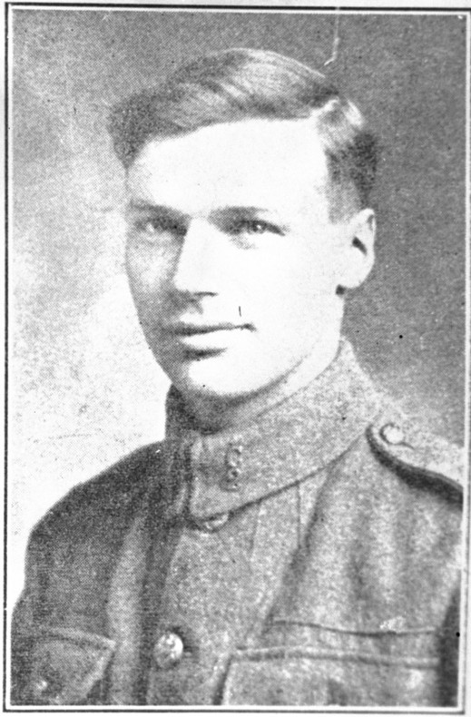 A black-and-white newspaper clipping of a photograph of a young man in uniform