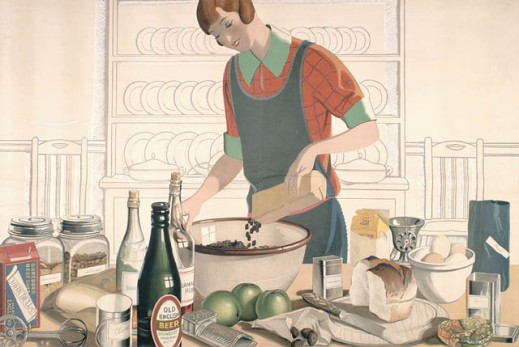 Image of a woman pouring currants in a bowl with cooking tools and ingredients for a recipe on a table including sultanas, flour, brandy, cloves, beer, Jamaican rum, currants, apples, cinnamon, bread, eggs, spices and raisins.