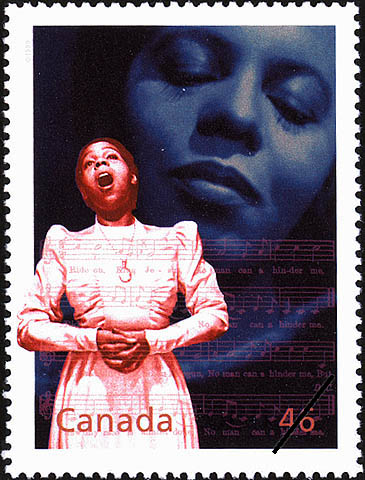 A colour stamp featuring, in the foreground, a young woman singing and, in the background, a close-up of the woman's face with her eyes closed. A musical score with notes and lyrics appears faintly in the bottom half of the stamp.