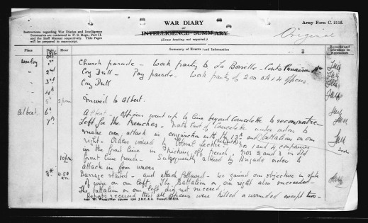 A black-and-white handwritten page describing the daily events leading up to the day of the action for which Piper James Cleland Richardson received the Victoria Cross.