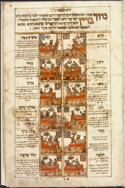 Colourful image, in red, brown and grey, of a page from a manuscript of a Passover haggadah. The 12 ritual steps of the seder are illustrated. On the outer and inner margins beside the illustrations, text in Hebrew names the ritual and gives directions on how to carry it out in Yiddish (written in the Hebrew alphabet).