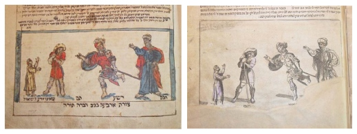A collage presenting, side by side, part of a page from two different editions of a book. Both images have four men with different clothes and poses; the images are alike because the corresponding men are dressed and posed similarly. The page on the left is in colour, while the page on the right is in grey tones.